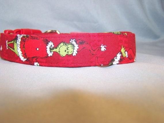 Red Cartoon Grinch Pet Collar