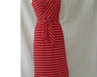 Vintage Ferragamo Sleeveless Day Dress in Red Striped Silk by Salvatore Ferragamo