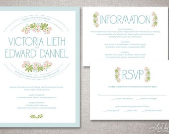 "Rustic Floral ""Victoria"" Wedding Invitation Suite - Vintage Deco Invitations - Personalized DIY Digital Printable or Printed Invite"
