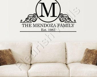 Monogram Decal - Family Name Wall Decal with Established Date and Shabby Chic Border - Vinyl Monogram for Living Room or Family Room FN012