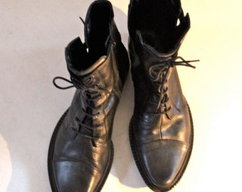 Military Combat Steampunk Boots Black Leather Zip 8 - 8.5 Ankle faux lace up