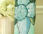 Summer Hydrangeas in Vintage Vase, Original, Still Life, Acrylic Painting, 6x12