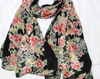 Black Rose  Lace Print Scarf,Fashion Light Weight Spring Summer 1520 Scarf