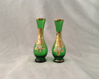 Vintage Pair of Emerald Glass Hand Painted Gold Rimmed Vases