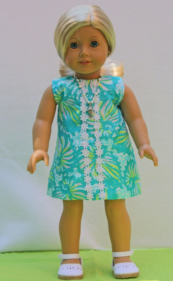 Lilly Pulitzer American Girl Doll Dress Shorely Blue Twirly