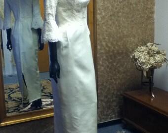 1960's Vintage Lace, Satin Wedding Gown.
