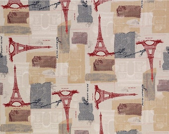 Eiffel Tower Fabric - April in Paris by Architecture En Vogue for Timeless Treasures C9407 Tan- 1/2 yard