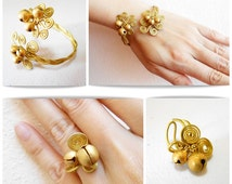 Jewelry Set, Brass Ring and Bracelet - Handmade Golden Bell Fashion Jewelry, Adjustable, Thailand Handmade. JS4003
