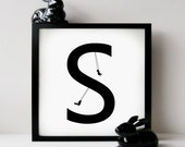 Typography, A Black and White Digital Illustration Art Print - The Alphabet Collection, S is for Swinging