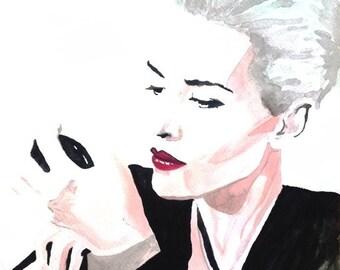KATE WINSLET makeup VOGUE original painting watercolor 7''x9''1/2 - 18x24cm