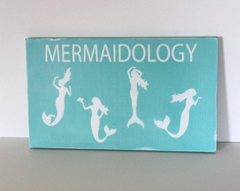 Mermaid sign, beach sign, beach decor, distressed wood sign, coastal decor, beach house