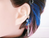 Feather Ear Cuff Cartilage Earring - Blue And Silver Helix Jewelry