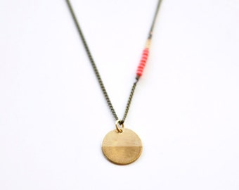 Compass - long brass coin antique necklace - modern boho tribal layering jewelry