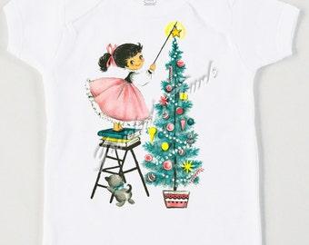 Retro Girl Christmas Tree Tee Ornament Custom Size Vintage Tshirt Size NB to XL Blonde or Dk Hair