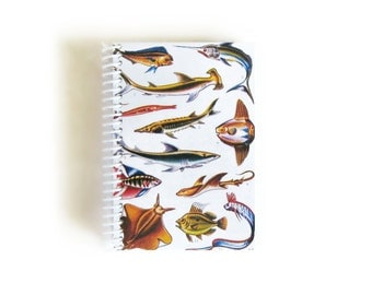 Cute Sea Creatures A6 Blank Spiral Notebook, Natural History, Sketchbook, Pocket Writing Spiral Bound Journal Diary, Gifts Under 15, Ciaffi