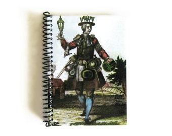 The Glazier, Back to School Notebook, Cute Blank Sketchbook, Writing Journal, Pocket, Antique German Plate, A5, Spiral Bound, 5x7, Ciaffi