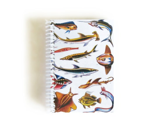 Cute Sea Creatures A6 Blank Spiral Notebook, Natural History, Sketchbook, Pocket Writing Spiral Bound Journal Diary, Gifts Under 15, SALE