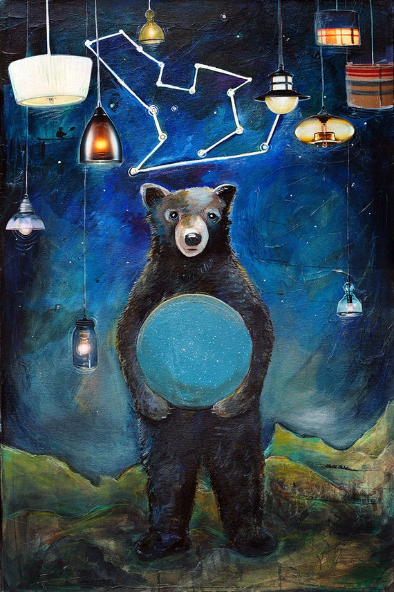Bear and Constellation Painting - I Will Guide You Home - 11X17 print - big dipper, stars, night sky, big dipper