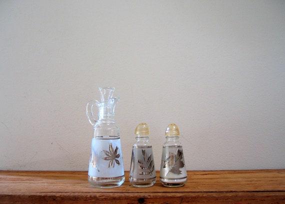 Vintage Salt and Pepper Shaker Cruet Three Piece Glass Set Anchor Hocking
