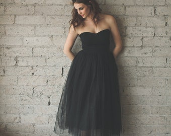 Black Sweetheart Strapless Tea Length Cotton and Tulle Party Dress - Audrey by Cleo and Clementine