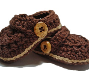 Crochet baby booties, Booties and crib shoes, Crochet Baby Boy loafers, Brown baby shoes for boys, slippers, crochet clogs