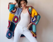 Plus size clothing Blue Plus Size Crochet Cardigan - MADE TO ORDER Oversized Clothing, Yellow Multicolor Coat, Sweater