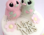 Wedding Cake Topper Birds in Pale Mint Green and Pink Pretty Pastels