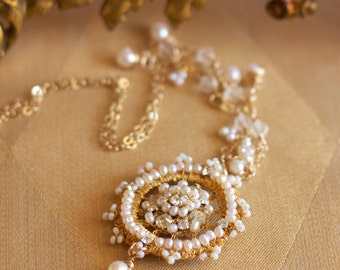 """Gold Pearl Wedding Necklace / Lace and Rhinestone Pendant / 20"""" Gold-filled Chain / """"Ambra"""""""