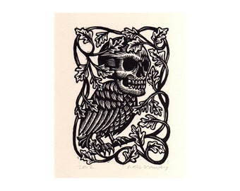 Skull Art, Creature Linocut Print, Skull Bird Linocut Art Print, Halloween Art, Goth Art