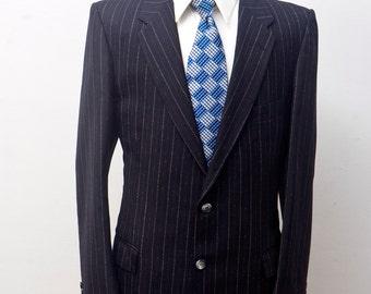 Men's Blazer / Vintage Black Pinstripe Jacket / Towering Man Clothiers / Size 42 Medium-Large