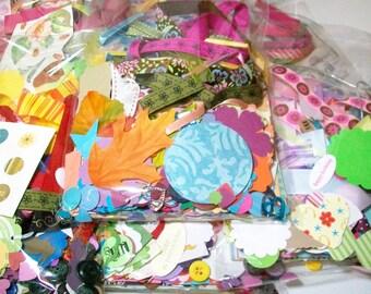 Scrapbook Embellishment Kit - Scrap Pack - Crafting Grab Bag - Papers, Embellishments, Ribbons - Over 275 Pieces