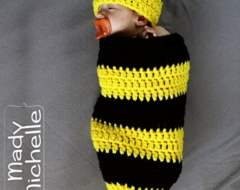 Newborn Crochet Bumble Bee Halloween Costume for Photography or Photo Shoot