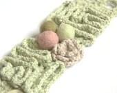 Textile crochet bracelet cuff Valentine gift for her pastel pale green mint cotton linen flower wool romantic handmade summer