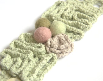Textile crochet bracelet cuff Valentine gift for her pastel pale green mint cotton linen flower wool romantic handmade summer