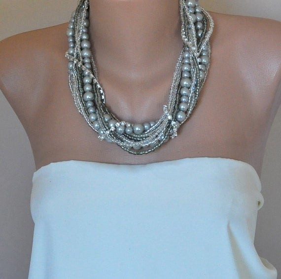Bridal look necklace wedding necklace gray pearl Chunky Weddings Silver Pearl Necklace brides, bridesmaids gifts