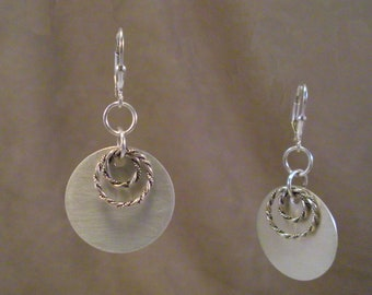Brushed Sterling Silver Disks with Twisted  Sterling Silver Rings Earrings