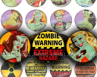 "ZoMBIE GIRLS - Digital Printable Collage Sheet - Retro Undead Pin-Ups, Zombiepocalypse, Halloween, 1"" Circle, 25 mm Round, Instant Download"