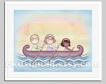 Africa adoption print, baby nursery art print, children decor, family art mom dad blonde girl African American row boat - Stronger 8 x 10