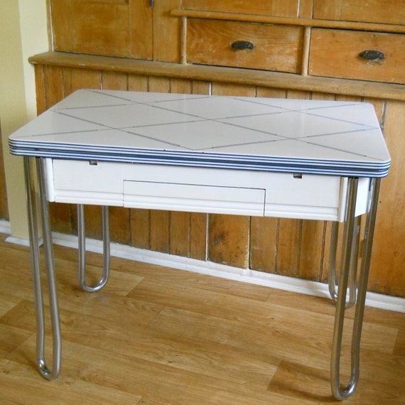 Vintage Enamel Kitchen Top Table With Wood Legs
