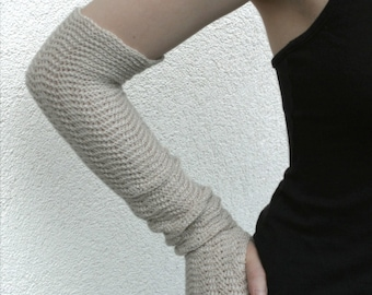 Arm Warmers Ecru Beige Fingerless Gloves  Mittens Mitaines pure merino wool