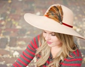 Women's 70's Inspired Floppy Hat / Tan/ Wheat / Feather Accent by Bethany Lorelle