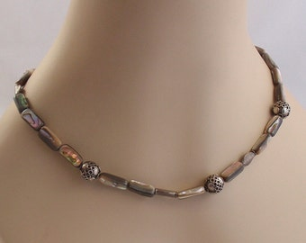 Vintage Bohemian Abalone and Silver Bead Necklace Hand Forged Clasp