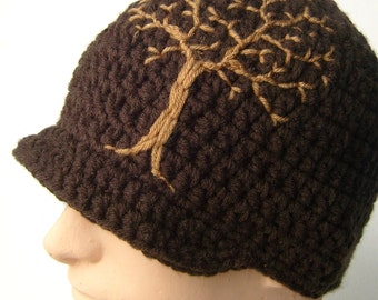 Mens Brimmed Beanie with Tree Design Mens Brimmed Hat Guys Beanie Tree of Life Dark Brown Tan Womens Hat Women's Beanie MADE TO ORDER