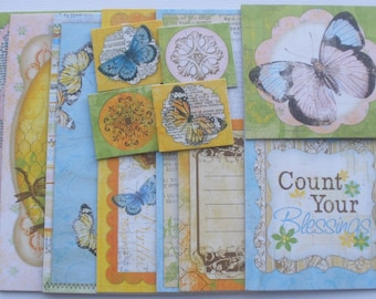 WHIMSICAL BUTTERFLIES -  Journal Chipboard Die Cuts -  Titles / Journal Spots / Picture Cards - Embellishment  Kit - 12 Pieces