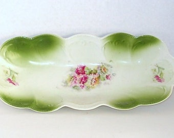 Vintage Porcelain Bowl - Celery Dish - Victorian Antique - Floral Gladioli