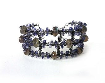 Midnight Cuff - Iolite and Labradorite Oxidized Sterling Silver Macrame Cuff  with Magnetic Clasp- One Of a Kind - Tagt - Free Shipping