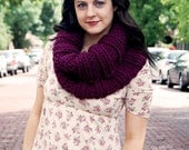 Eggplant Extra Chunky Cowl // Warm Purple Infinity Scarf // Collared Violet Circle Cowl