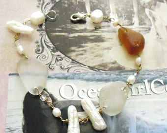 Genuine Sea Glass and Pearls Bracelet -Hand Made- Fine Jewelry
