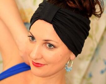 Black Turban Headband - Jersey Knit - Lots of Colors