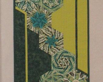 Contemporary Art Quilt Green Hexagons Geometric Shapes